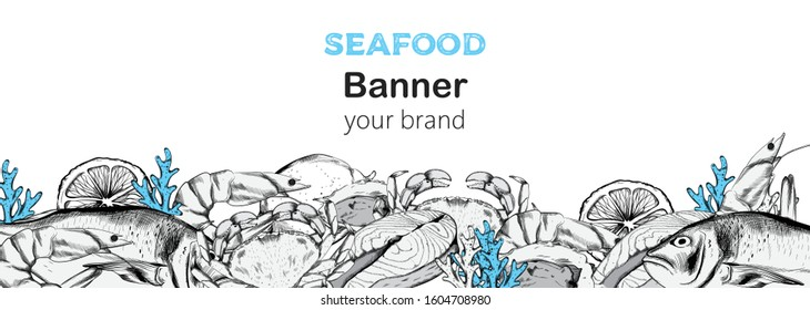Seafood banner composition with red fish steak