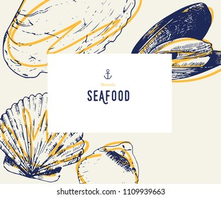 Seafood banner set. Hand drawn mussels , oyster. Vector restaurant menu. Marine food banner, flyer design. Engraved isolated art. Delicious cuisine objects. Use for promotion, market, store banner