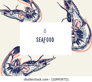 Seafood banner set. Hand drawn shrimp. Vector restaurant menu. Marine food banner, flyer design. Engraved isolated art. Delicious cuisine objects. Use for promotion, market, store banner
