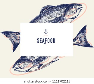 Seafood banner set. Hand drawn tuna fish. Vector restaurant menu. Marine food banner, flyer design. Engraved isolated art. Delicious cuisine objects. Use for promotion, market, store banner
