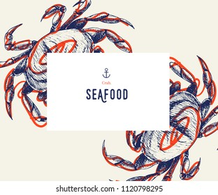 Seafood banner set. Hand drawn crab. Vector restaurant menu. Marine food banner, flyer design. Engraved isolated art. Delicious cuisine objects. Use for promotion, market, store banner.