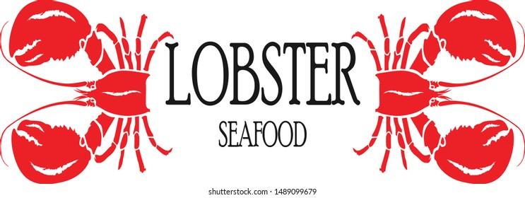 Seafood banner set. Hand drawn lobster. Vector restaurant menu