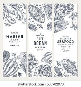 Seafood banner template set. Fish restaurant vertical design collection. Engraved style illustration. Vector illustration