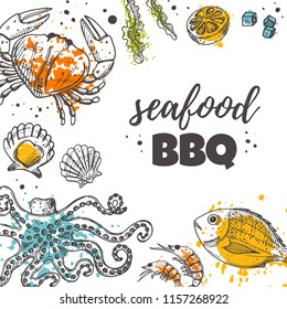 Seafood bbq concept design. Daily fresh. Hand drawn vector illustration. Can be used for menu, marine cafe, shop, barbeque, fish house, restaurant, bar, poster, label, sticker, logo.