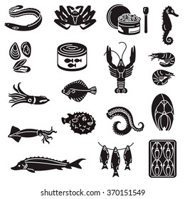 Seafood Black Icons. Black icons with Fish, caviar and other seafood.