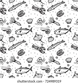 Seafood black and white seamless pattern hand drawn. Doodle background.