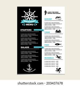 Seafood cafe menu grill, template design.Vector illustration.