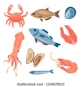 Seafood in cartoon style. Vector icons mussel, fish salmon, shrimp, squid, octopus, scallop, lobster, craps, mollusk, oyster, alfonsino and tuna
