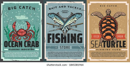 Seafood catch and fishing tackle shop vintage poster. Ocean crab, tuna and rods, sea turtle, coral and seaweed vector. Seafood industry, fishing equipment and bait store and club retro banners