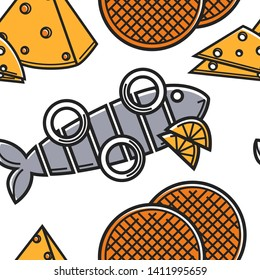 Seafood cheese and dessert Holland food and cuisine seamless pattern vector herring with onion rings and lemon caramel waffles and edam or maasdam endless texture fish dairy product and sweet treat