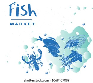 Seafood collection with fish, lobster, shrimp, squid. Template of menu of fish market, restaurant; label, icon, tag, banner, background, business card. Drawing for packing product to store
