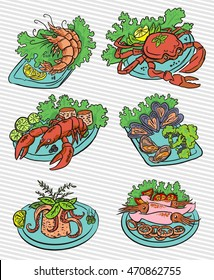 Seafood colorful vector illustrations