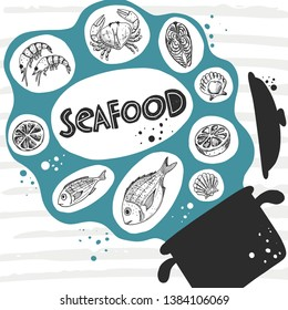 Seafood concept design. Daily fresh. Hand drawn vector illustration for menu, marine cafe, market, shop, barbeque, fish house, restaurant, bar, poster, label, sticker, card, logo