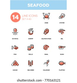Seafood concept - line design icons set. Sea animals, marine products for menu, bar, restaurant. Crab, sushi, salmon steak, oyster, eel, snail, flatfish, octopus, shrimp, calamari, fish, rolls, caviar