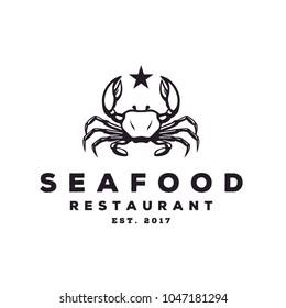 Seafood Crab Lobster Crayfish Prawn Shrimp vintage luxury logo design