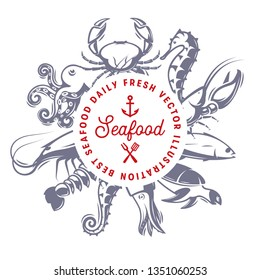 Seafood daily fresh vector illusttation, seafood restaurant menu design template, grilled fish logo. Abstract banner with circle shape on fish silhouettes.