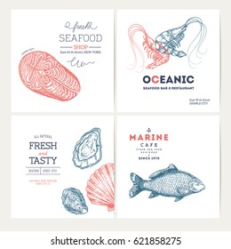 Seafood design template collection. Fish banners set. Vector illustration