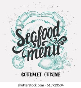 Seafood element for restaurant and cafe. Design poster with hand-drawn graphic elements in doodle style.