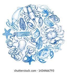 Seafood and fish background. Hand drawn vector illustrations. Vintage food banner. Can be used for design menu, packaging, recipes, label, fish market, seafood products.