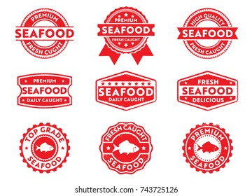 seafood and fish product sticker stamp pack
