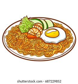 "Seafood fried noodle, or ""Pie Goreng Seafood"" in Bahasa Indonesia. A cultural noodle food from Asia with additional seafood ingredients - vector."