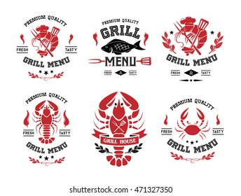 Seafood grill and steak labels, badges, stickers, logos and design elements. Set of vector templates isolated on white background.