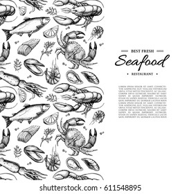 Seafood hand drawn vector illustration. Crab, lobster, shrimp, oyster, mussel, caviar and squid. Engraved style vintage template. Fish and sea food restaurant menu, flyer, card, business promote.