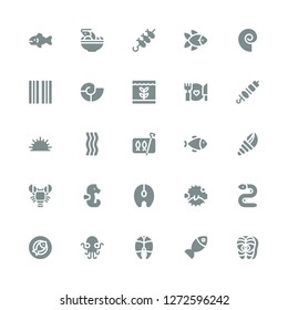 seafood icon set. Collection of 25 filled seafood icons included Salmon, Fish, Kraken, Eel, Blowfish, Seahorse, Lobster, Seashell, Sardines, Bacon, Sea urchin, Brochette, Food