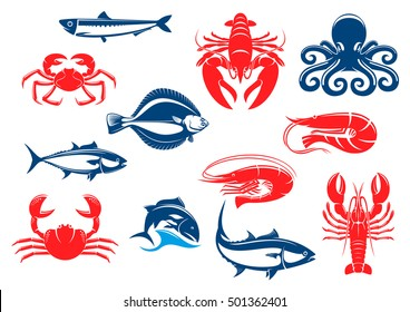 Seafood icon set with fish and crustacean. Crab, shrimp, salmon, lobster, octopus, tuna, prawn, flounder, crayfish, anchovy isolated icons for seafood menu and fishing sport design