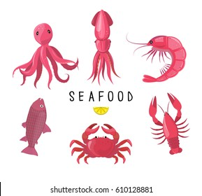 Seafood icons collection. Vector illustration. Seafood platter - crab, lobster, fish, octopus, shrimp, crayfish. Pink icons isolated on white background.