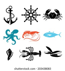 Seafood icons. Crab, lobster, fish, octopus.