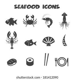 seafood icons, mono vector symbols