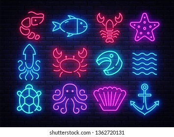 Seafood icons set. Seafood collection neon signs. Bright signboard, light banner. Neon isolated icon, emblem, design tremplate. Vector Illustration
