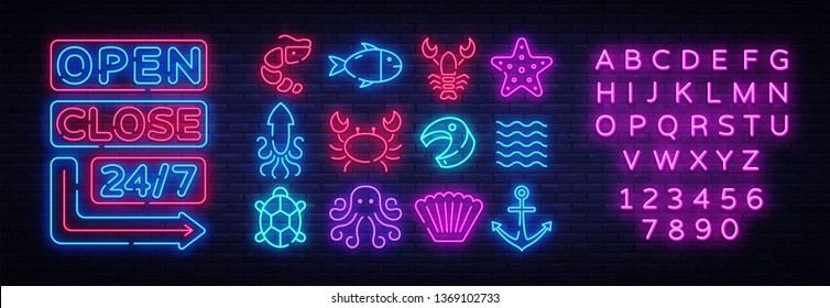 Seafood icons set. Seafood collection neon signs. Open Close Bright signboards, light banner. Neon isolated icon, emblem, design tremplate. Vector Illustration