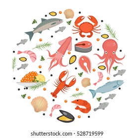 Seafood icons set in round shape, flat style. Sea food collection isolated on white background. Fish products, marine meal design element. Vector illustration