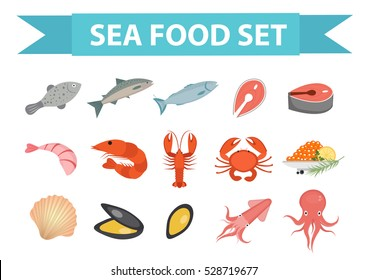 Seafood icons set vector, flat style. Sea food collection isolated on white background. Fish products illustration, design element