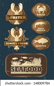 Seafood icons, vector