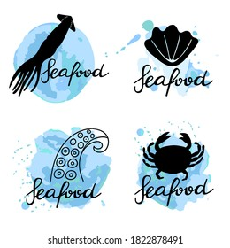 Seafood lettering set. Hand drawn label for food packaging, local sea product simple stamp collection. Text with blue abstract background with crab, octopus tentacle, mollusk and squid symbol vector