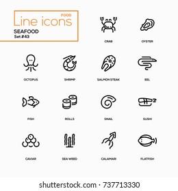 Seafood  - line design icons set. Sea animals, marine products for menu, bar, restaurant. Crab, sushi, salmon steak, oyster, eel, snail, flatfish, octopus, shrimp, calamari, fish, rolls, caviar, weed