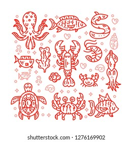 Seafood line vector banner. Underwater and undersea animals collection. Doodle style cliparts