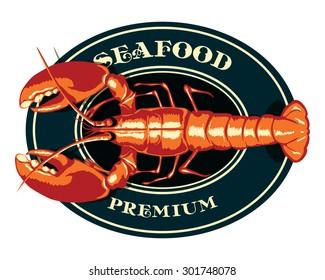 Seafood Lobster Crayfish Fish Restaurant Emblem Label Logo Menu