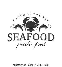 Seafood logo design restaurant fresh crab and shrimp logo for label product and seafood shop