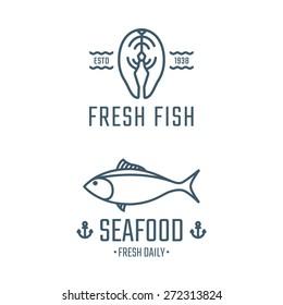 Seafood logos, labels, badges vector template. Design elements