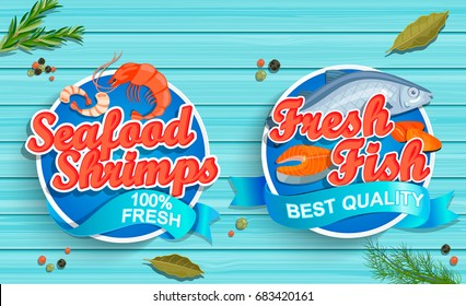 Seafood logos on blue wooden background. Seafood shrimps and fresh fish emblems and logos. Vector illustration.
