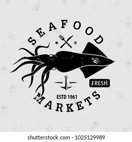 squid logo images stock photos vectors shutterstock https www shutterstock com image vector seafood market logo squid vintage badge 1025129989