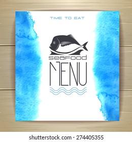 Seafood menu design with fish
