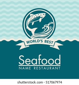 Seafood menu design on a blue background. Vector illustration