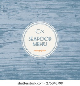 Seafood menu - Realistic wood texture background in blue color - Vector illustration