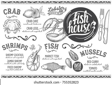 Seafood menu for restaurant and cafe. Design template with hand-drawn graphic illustrations.