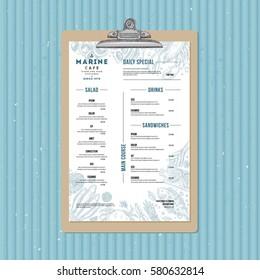 Seafood menu template. Fish restaurant identity. Engraved style illustration. Vector illustration